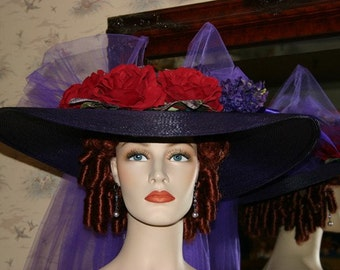 Kentucky Derby Hat Ascot Edwardian Tea Hat Titanic Hat Southern Belle Hat Downton Abbey Hat Women's Purple & Red Hat - Sweetheart of Atlanta