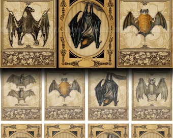VICTORIAN BATS - Digital Printable Collage Sheet - Antique Vampire Bat Illustrations in Vintage Frames, Halloween, Instant Download