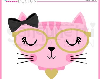 Cat clipart, fancy cat, kitty clipart, kitten clipart, cat face clipart, cat with glasses, Instant download