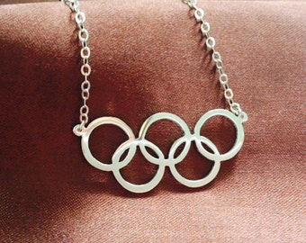 2016 Rio Summer Olympics 5 Rings Logo, Silver Pendant Necklace, Custom Necklace