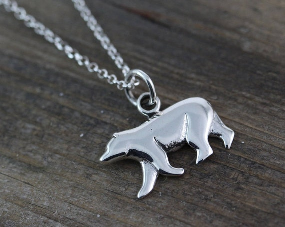 925 sterling silver bear necklace bear pendant polar bear like this item aloadofball Images