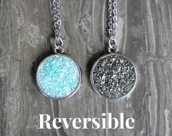 Reversible Crushed Crystal Necklace - 2 in 1 Necklace (40% off)