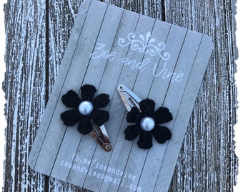 READY TO SHIP, Black Wool Felt Flower Clip Set, Baby Clips, Infant Girls Adult Mini Snap Clips