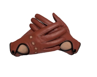 Women's Driving Leather Gloves - Brown Sheepskin Gloves for driving