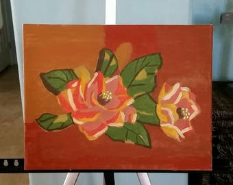 Classic Magnolias Acrylic on Canvas Painting