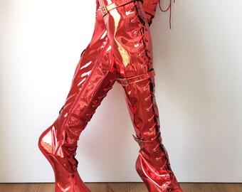 DANY 18cm Pony Hoof Sole Heelless Platform Crotch Hi Boots Red Metallic