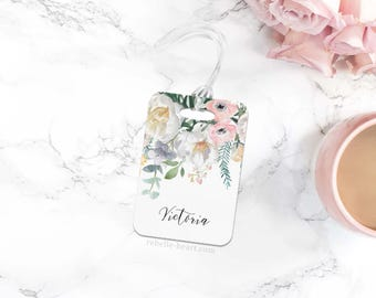 Cute Luggage Tags, Floral Luggage Tag, Personalized Luggage Tag, Custom Luggage Tag, Travel Accessories, Gifts Under 20, Travel Gift,For Her