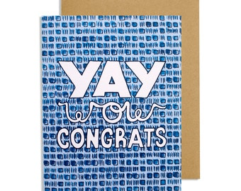 Sarcastic hand made greeting card—Yay, Wow, Congrats—hand lettered congratulations card with a blue/black watercolor geometric pattern