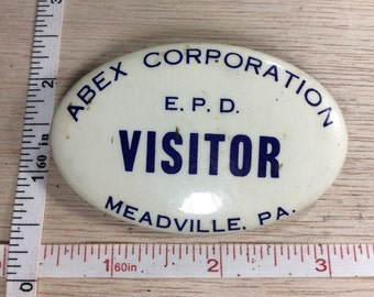 Vintage Abex Corporation Visitor Badge Meadville Pa Used