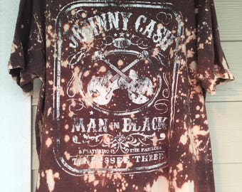 Johnny Cash - Man In Black // Custom Bleached // Hand Made // Hand Designed // Band Tshirt