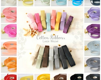 """Cotton Ribbons - 3 or 6 Yards of 100% Cotton Ribbon - 1/2"""" Wide - Ribbons for Weddings -Eco Friendly Ribbons -Colorful Cotton Ribbons - Trim"""