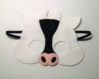 Cow felt mask Black and White farm animal party costume for boys girls him her Handmade Dress up play accessory Theatre roleplay