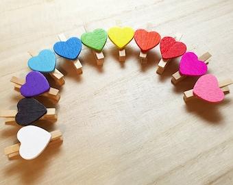 50 pcs Heart Mini Clothespin Set - Rainbow Colors Korean Stationery Wooden Clothespins Photo Clip E0174