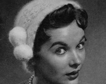 1940s 50s Vintage Hat Pattern - Angora Crocheted Cloche - PDF E-book