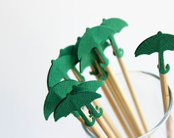 Green Umbrella Drink Stirrers, Spring Party, Umbrella Baby Shower, Birthday Party, Set of 12