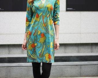 Vintage 70s splash dress Blue print dress 70s Hippie pattern urban dress Yellow, orange and olive pattern (S/M)