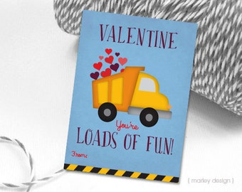 Loads of Fun Valentines Cards Printable Boys Valentine's Cards Classroom Valentines Truck Valentine's Kids Valentine's Cards Fill-In Digital