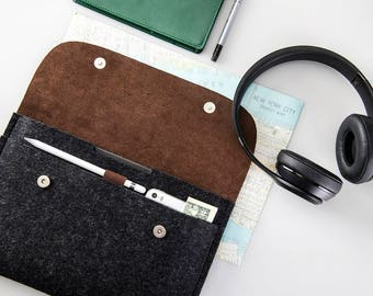 Apple iPad 10.5 case iPad Pro 10.5 inch sleeve cover 100% wool felt genuine leather case fits with smart keyboard hand crafted