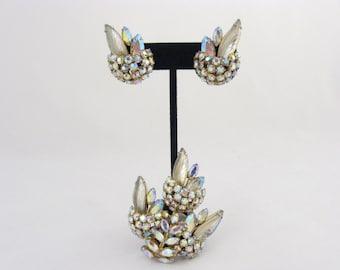 Bijoux Sherman a signé / / signé Sherman broche et boucles d'oreilles / / bijoux en cristal de Swarovski Aurora Borealis / signé bijoux / /
