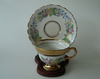 Vintage Rosina Tea Cup Floral and Gold English China Teacup and Saucer