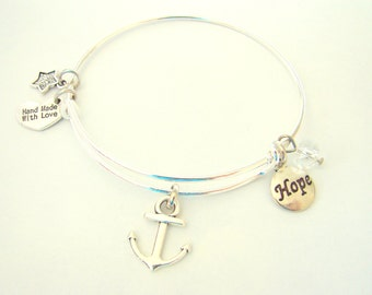 Anchored in Hope Expandable Wire Bangle Bracelet by EverTrend, Stackable Bangle Bracelet
