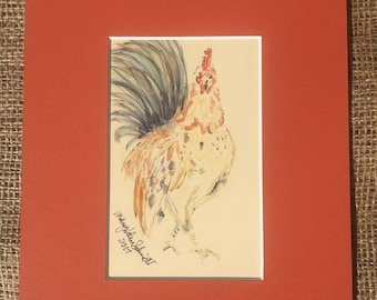 Rooster Matted Watercolor Print