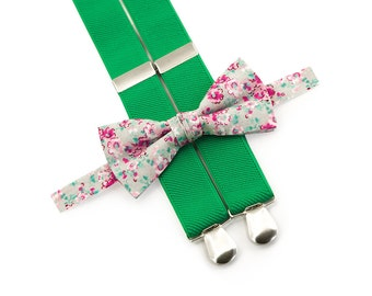 floral bow ties & green suspenders boy suspenders and bow tie groom and ring bearer set