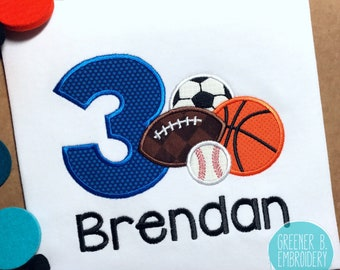 Sports Birthday Shirt / Sports Applique Shirt / Soccer Party / Sports Party / Boy Sports Shirt / 1st Birthday Shirt / Birthday Sports Theme