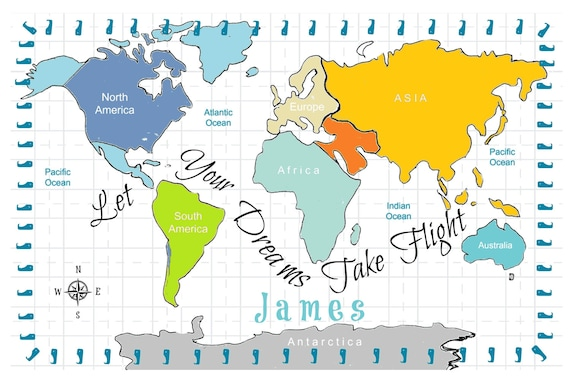 World Map Personalized - Dreams Turquoise -  2 layer Blanket 2 sizes, Colorful Custom Kids - Toddler Name Blanket, Nursery Decor,  Baby Gift