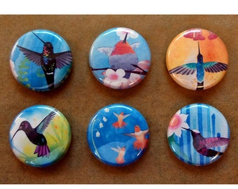 Hummingbird Collection 6 Pinback Buttons - Pins - Badges Gardeners Flowers Allens, Rufous, Fiery Throated, Sword Billed, Violet Sabrewinged