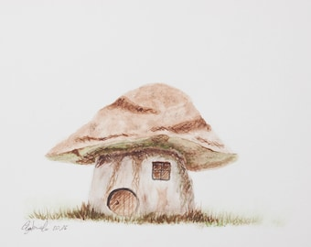 Print of watercolor made by me, mushroom Fantasy