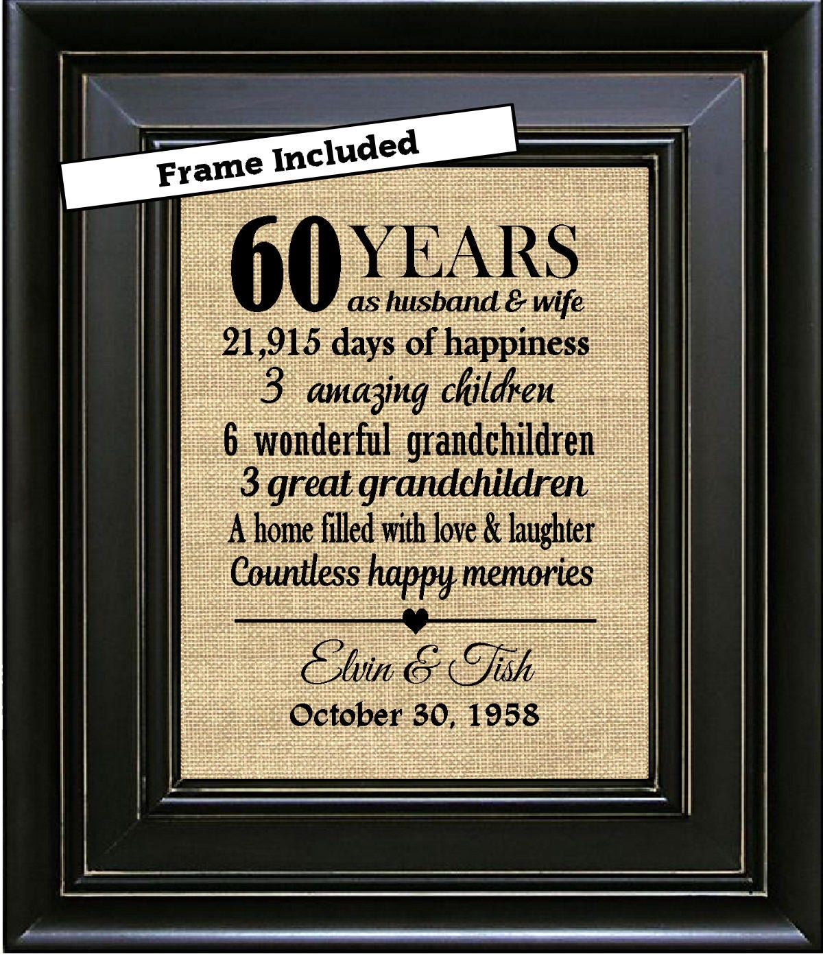 Wedding Anniversaries Traditional Gifts: FRAMED 60th Wedding Anniversary/60th Anniversary Gifts/60th