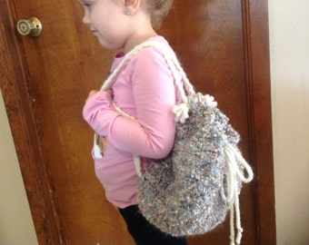Crochet little girls backpack purse