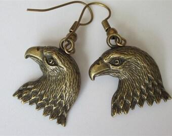 Eagle Earrings, American Eagle, Mens Dangle Earrings. Eagle Jewelry, Animal Jewelry, Antiqued Bronze Bird Earrings, Unisex Jewelry