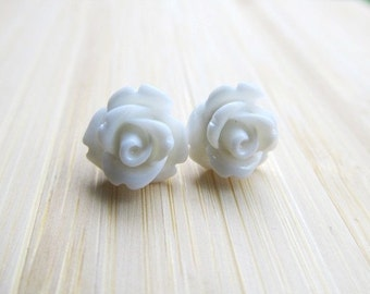 White Rose Earrings, Flowers on Stainless Steel Posts, Post Earrings, Rose Jewelry
