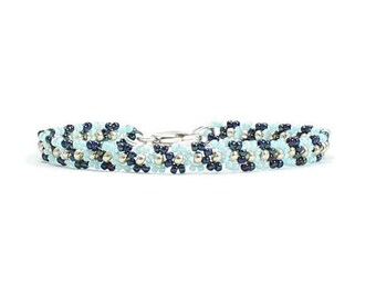 Seed Bead Bracelet - Blue Beaded Bracelet - Beadwork Jewelry - Daisy Chain Layering Bracelet - Beadwoven Boho Bracelet