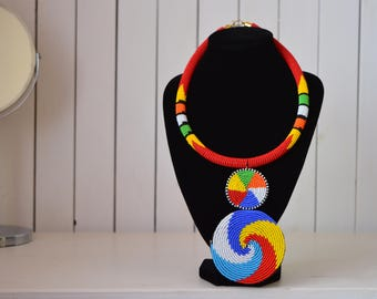 African Maasai Beaded Necklace | Zulu Beaded Necklace | Tiered & Tribal  | Multi color Neckpiece | Romantic Gift for Her | One size fits all
