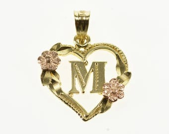 14k M Letter Initial Heart Rose Accent Pendant Gold