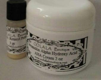 Vitamin A Alpha Hydroxy Acid AHA cream kit glycolic, lactic, fruit, salicylic acid in cream  Exfoliate your skin naturally