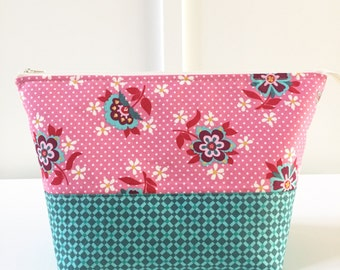 Large Open Wide Pouch in Domestic Bliss   Zippered Pouch   Cosmetic Bag