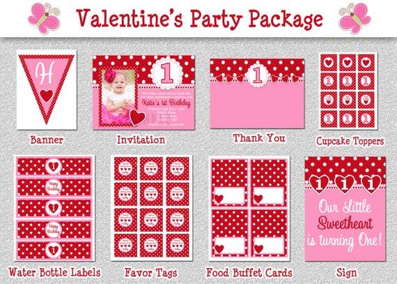 Valentines Birthday Invitation, 1st Birthday Valentines Birthday Party  Invitation, Pink And Red Valentine Birthday Party Invitation