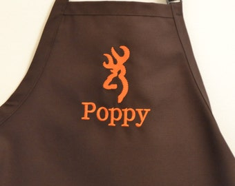 Personalized Man Brown Apron with Deer Head and Name Embroidery Monogramming Apron Gift Father's Day Graduation Birthday Husband Hubby Guy