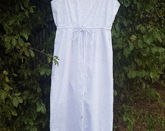 SALE 100% Cotton Paisley White Maxi Dress, with adjustable straps & draw string. Australian Made.