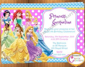 Disney Princess Party Invitation All the Princesses Birthday