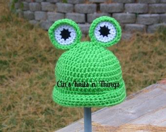 Frog Hat - Baby Frog Hat - Toddler Frog Hat - Child Frog Hat - Adult Frog Hats - Crochet Hat - Animal Hat - Hats for Kids - Photo Prop