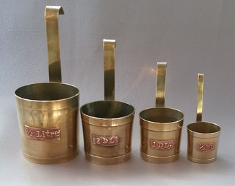 Brass Measures, Measures, Measuring jugs, Brass kitchenware, Brass decor, Brass ornaments, Kitchen ornament,
