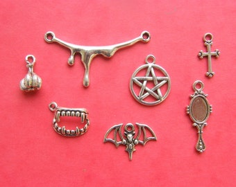 The Vampire Collection - 7 different antique silver tone charms