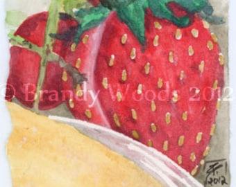 Strawberry Fruit Breakfast Watercolor Painting SFA ACEO art print Brandy Woods