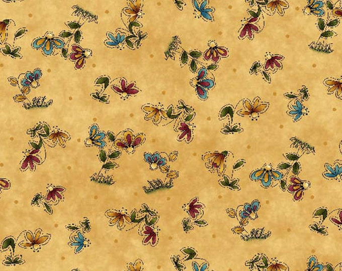Woodland Moose Fabric, The Whole Country Caboodle Cotton Floral Fabric by Leanne Anderson
