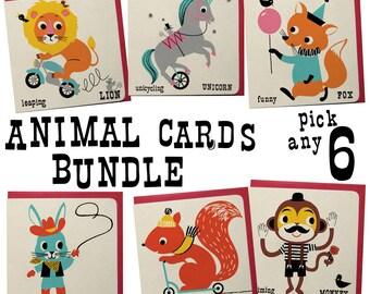 Animal Greeting card Bundle of 6, greeting card set, retro animal cards, vintage fun animal cards, fun kids birthday cards, funny cards